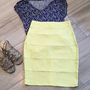 Lemon yellow pencil skirt